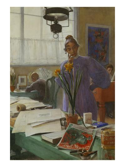 My Wife (Karin in the Studio]-Carl Larsson-Giclee Print
