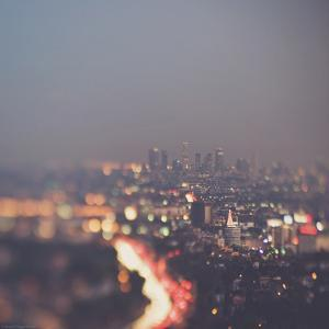 Los Angeles at Night with Road Traffic by Myan Soffia