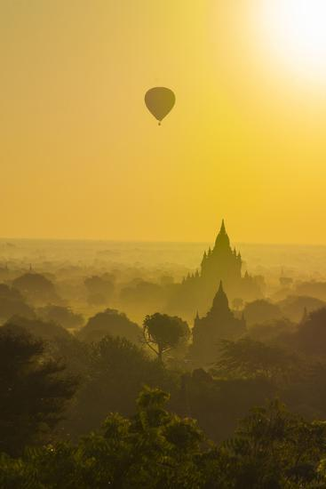 Myanmar. Bagan. Hot Air Balloons Rising over the Temples of Bagan-Inger Hogstrom-Photographic Print