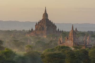Myanmar. Bagan. Temples of Bagan at Sunset-Inger Hogstrom-Photographic Print
