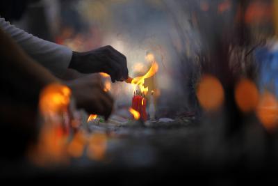 Myanmar Buddhists Light Candles at the Shwedagon Pagoda on the Full Moon Day-Lynn Bo Bo-Photographic Print