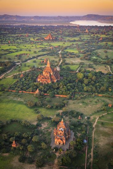 Myanmar (Burma), Temples of Bagan (Unesco World Heritage Site) Elevated View from Baloon-Michele Falzone-Photographic Print