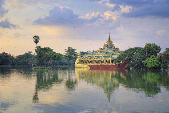 Myanmar (Burma), Yangon (Rangoon), Shwedagon Paya (Pagoda), Karaweik Hall and Kandawgyi Lake-Michele Falzone-Photographic Print