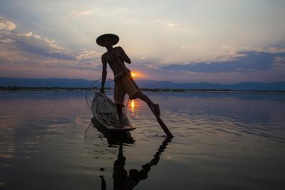 Myanmar, Inle Lake. Fisherman Rowing at Sunset-Jaynes Gallery-Photographic Print