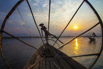 Myanmar, Inle Lake. Fishermen Rowing at Sunset-Jaynes Gallery-Photographic Print
