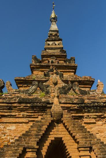 Myanmar. Mandalay. Inwa. Red Brick Stupa-Inger Hogstrom-Photographic Print