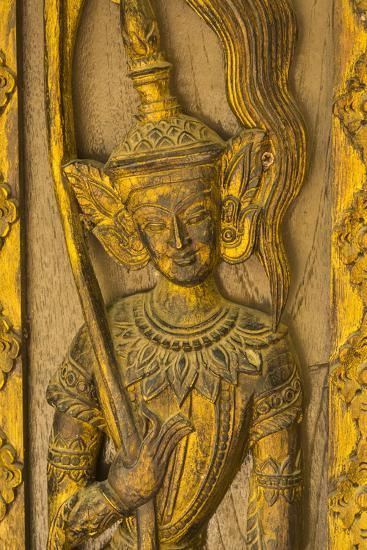 Myanmar. Mandalay. Sagaing Hill. Detail of a Tiny Carved Teak Temple-Inger Hogstrom-Photographic Print