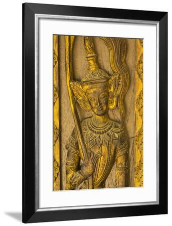 Myanmar. Mandalay. Sagaing Hill. Detail of a Tiny Carved Teak Temple-Inger Hogstrom-Framed Photographic Print