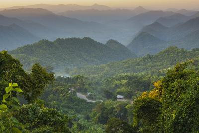 Myanmar. Shan State. Sunset over the Ridges of Haze-Filled Hills-Inger Hogstrom-Photographic Print
