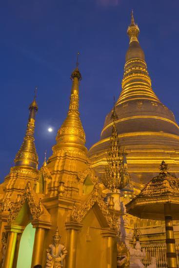 Myanmar, Yangon. Golden Stupa and Temples of Shwedagon Pagoda at Night with Moon-Brenda Tharp-Photographic Print