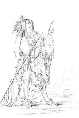Portrait of 'White Buffalo, Native American Man, 1841