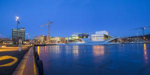 Night panoramic view of the Oslo Opera House, frozen bay and new business quarter, Oslo, Norway, Sc by Mykola Iegorov