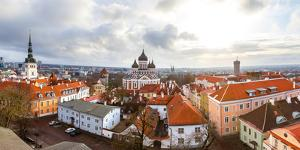 Toompea hill with Russian Orthodox Alexander Nevsky Cathedral, Niguliste church and Pikk Herman tow by Mykola Iegorov