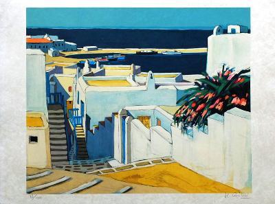 Mykonos : descente sur le port-Jean Claude Quilici-Limited Edition