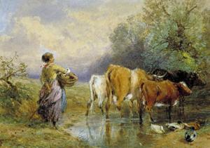 A Girl Driving Cattle across a Stream, 19th Century by Myles Birket Foster