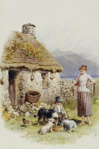 A Highland Cottage by Myles Birket Foster