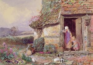 At the Cottage Door by Myles Birket Foster