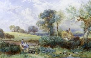 At the Pond by Myles Birket Foster