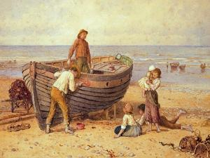 Boat, Figures and Sea by Myles Birket Foster