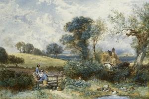 By the Duck Pond by Myles Birket Foster