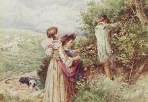Children Picking Blackberries by Myles Birket Foster