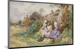 Children Reading Beside a Country Lane by Myles Birket Foster