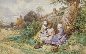 Children Reading Beside a Country Lane by Myles Birket		 Foster