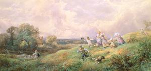 Children Running Down a Hill by Myles Birket Foster