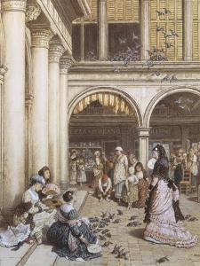 Feeding the Pigeons, Piazza San Marco, Venice by Myles Birket Foster