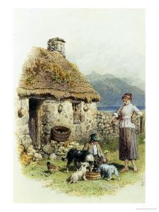 Feeding Time at a Highland Cottage by Myles Birket Foster