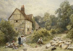 Fowl House Farm, Witley, with Children, a Shepherd and a Flock of Sheep Nearby by Myles Birket		 Foster