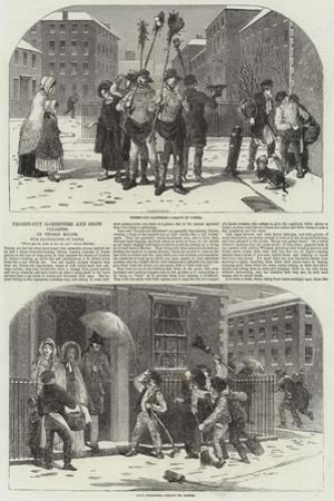 Frozen-Out Gardeners and Snow Clearers by Myles Birket Foster