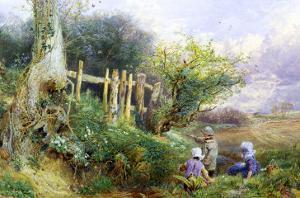 Gathering Primroses by Myles Birket Foster
