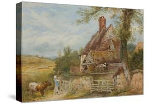 Landscape with Cottage, Girl and Cow (Bodycolour and Pencil on Paper, Pasted on Card) by Myles Birket Foster