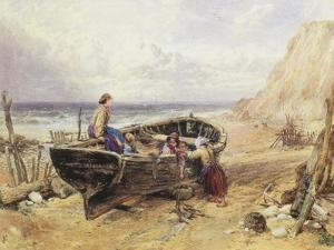 On the Beach at Bonchurch by Myles Birket Foster