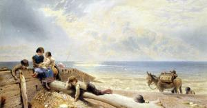 On the Beach at Rottingdean by Myles Birket Foster