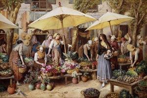 The Flower Market, Toulon by Myles Birket Foster