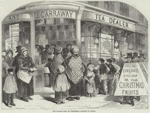 The Grocer's Shop at Christmas by Myles Birket Foster