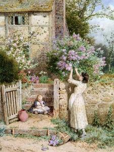 The Lilac Cottage by Myles Birket Foster