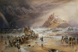 The Return of the Life Boat with St. Michael's Mount in the Distance, C.1874 by Myles Birket Foster