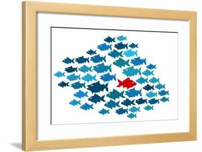 One Fish Swim In Opposite Direction, Dare To Be Different Concept