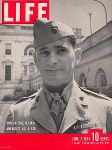 American Marine Ace Pilot Captain Joe Foss Wearing his Medal of Honor, June 7, 1943 by Myron Davis