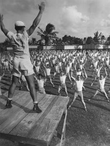 Army Recruits Doing Calisthenics by Myron Davis