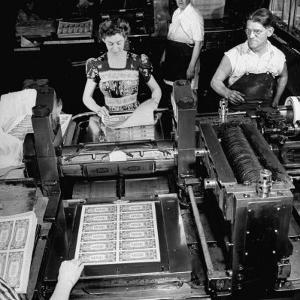 Bed Press Machine That Makes Paper Money.Chase Bank Collection of Moneys of the World by Myron Davis