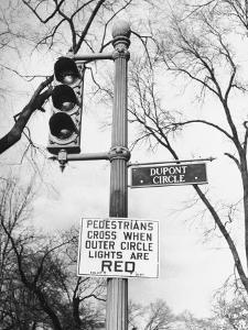 Close-Up of Traffic Sign at Dupont Circle by Myron Davis