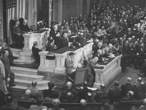 English Prime Minister Winston Churchill Adressesing the Us Congress by Myron Davis