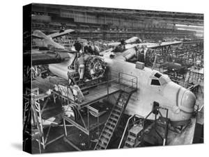 Men Working on Martin Patrol Bomber at Glenn Martin Plant by Myron Davis