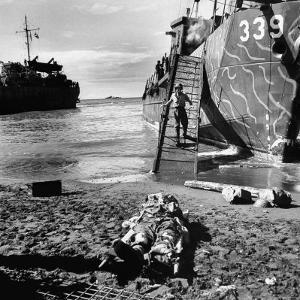 US Soldier Descending Towards Australian Serviceman Killed by Japanese Air Raid Attacks by Myron Davis
