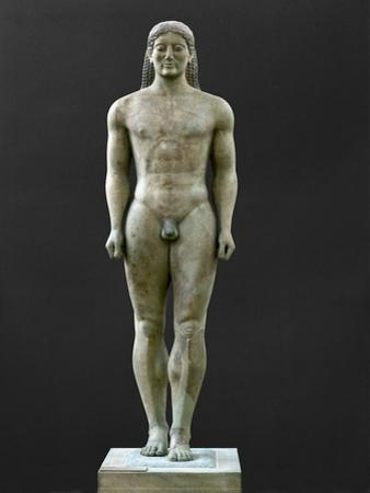 Statue of a Kouros, Ascribed to Myron, Marble (6th BCE)