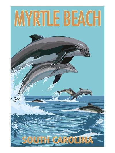 Myrtle Beach, South Carolina - Dolphins Swimming-Lantern Press-Art Print